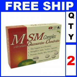 NEW 2 Boxes GSL MSM COMPLEX Gelatin Glucosamine Chondroitn Exp 2012 (60 Tablets/Lot)
