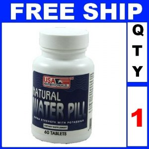 NEW 1 Bottle NATURAL WATER Pills With Potassium Vitamin B-6 & Calcium Exp 2012 (60 tablets/Lot)