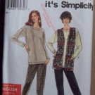 Simplicity 9700 pattern for top, vest, pants, size xs-XL, English Francais Espanol