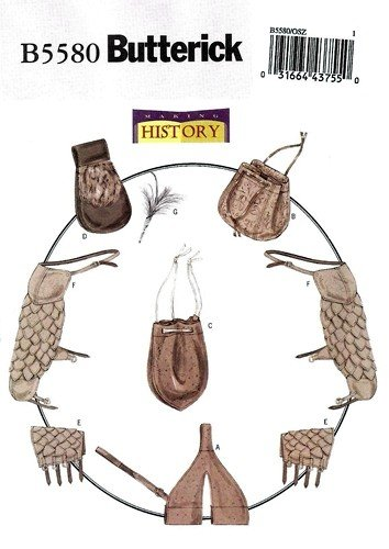 Butterick 5580 or B5580 pattern for Medieval accessories bags, arm bracers, sword holder