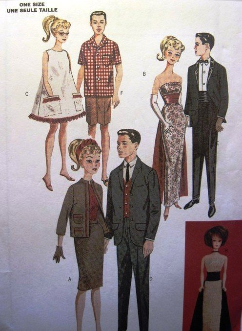 Butterick 6668 retro 11.5 inch fashion Barbie doll pattern Mid Century styles