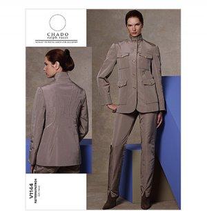 Chado Ralph Rucci Vogue pattern v1144 safari jacket and pants style suit size 6-12.