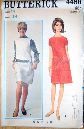 Butterick 4486 vintage 1960s sewing pattern dress with dropped waist and front pockets