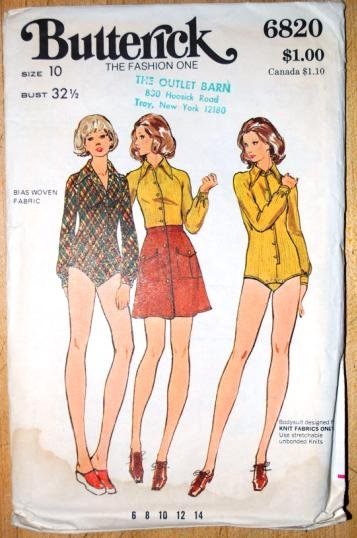 Butterick pattern 6820 bodysuit and skirt vintage 1970s pattern
