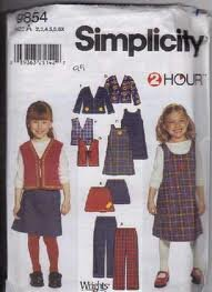 Simplicity 2 Hour pattern for kids' outfits 9854 size 2-6X .