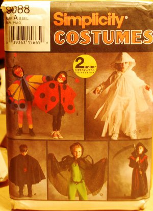 Simplicity 9088 pattern for kids costumes, 2 hour express, sizes small to large