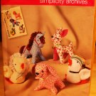 Simplicity 2763 horse, deer, dog, duck chicken retro stuffed animals pattern
