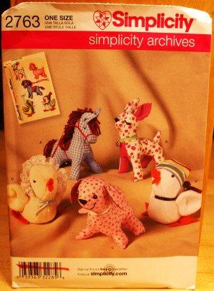 Simplicity 2763 horse, deer, dog, duck chicken retro stuffed animals pattern