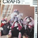 McCall's 5987 Victorian Tails pattern bunnies, cats by Janet Binning