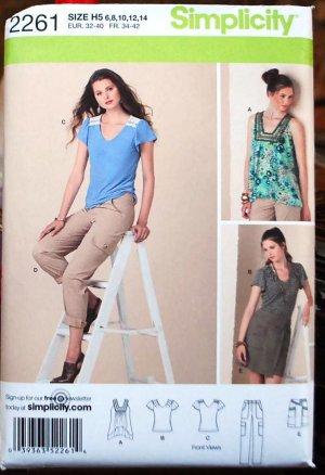 Simplicity 2261 detailed asymmetrical skirt, cargo pants, tops sizes 6-14