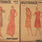 2 Vintage Butterick 1980s patterns 4268 and 3547, cowl neck dress
