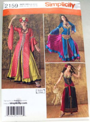 Simplicity 2159 pattern for tribal or belly dance costumes, sizes 6-12