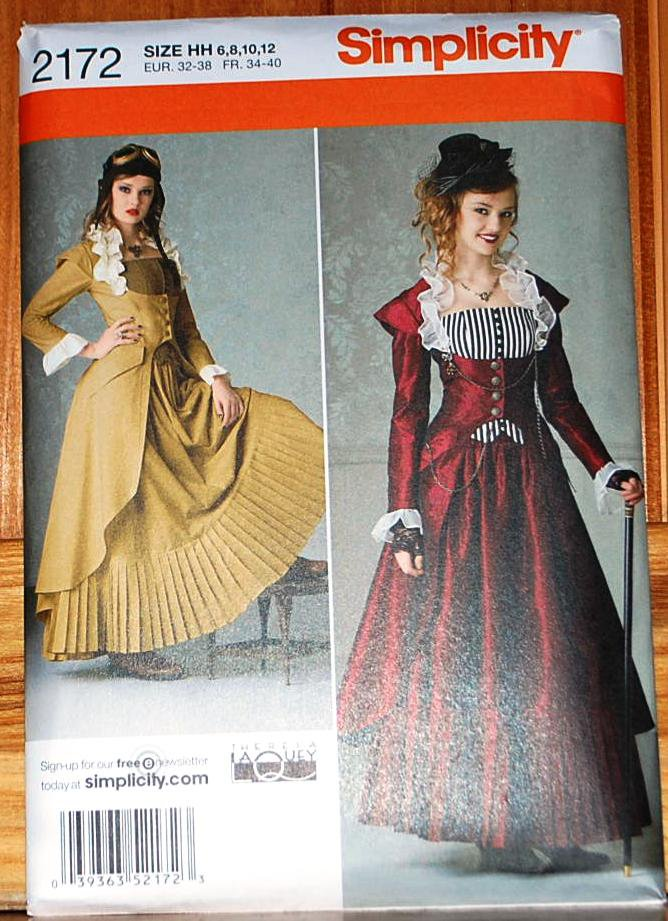 simplicity 2172 pattern steampunk or victorian dress gown