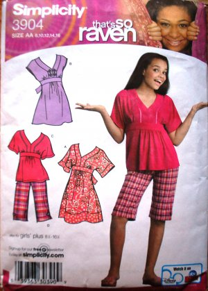 Simplicity 3904 That's so Raven pattern for dresses, top, capri or shorts size 8-16 some cut