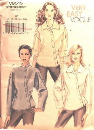 Very Easy Vogue V8515 8515 asymmetrical shirts pattern, sizes 8-16 .