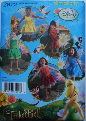 Simplicity 2872 Disney fairies Tinker Bell girls' pattern sizes 3-8 with wings