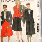 McCall's 8235 vintage 1982 pattern tuxedo jacket, skirt, culottes. Bust 42