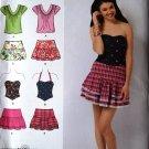 Simplicity 2620 pattern junior ruffle or bubble skirts, bustier and knit top, size 11/12-15/16