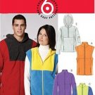 McCall's 5991 pattern for fleece vests, jackets, ipod arm pocket, zippers, small to large, unisex