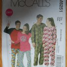 McCall's M6251 or 6251 pattern unisex raglan sleeve union suits, pajamas, sleepwear, sizes xsm-med