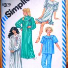 Simplicity 6174 asymmetrical gathered yoke nightgowns, pajamas vintage 1983