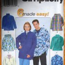 Simplicity 8262 pattern for fleece tops, anorak, hooded jacket unisex sizes xs-med