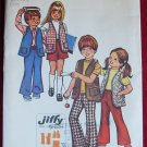 Simplicity 5336 pattern for children's bellbottom pants, shorts, vest, unizex size 3