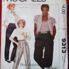 McCall's 9313 pattern Shari Belafonte Harper tapered and loose pants size 10 partially cut
