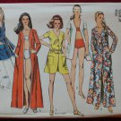 Simplicity 8843 vintage 1970 pattern beach coverup and two piece swimsuit