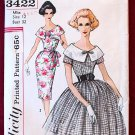Simplicity 3422 vintage 1960s pattern for wide collar dress, bust 32 inches
