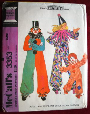McCall's 3353 vintage 1972 Pagliacci clown pattern costume. Size large adult