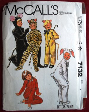 McCall's 7132 vintage 1980 pattern for children's animal costumes, size 4