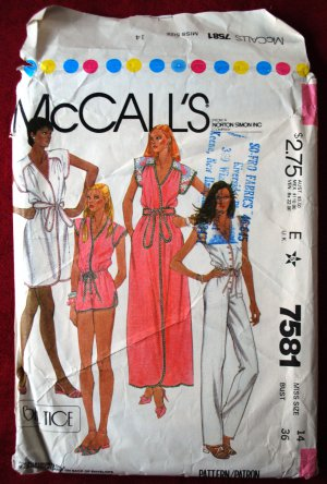 McCall's 7581 vintage 1981 pattern for size 14 wrap coverups