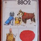Simplicity 8802 vintage 1978 dogs' pattern for coats, pet bed, and carrying bag