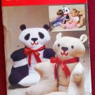 Butterick 4951 craft pattern for animal teddy bear and panda soft chairs