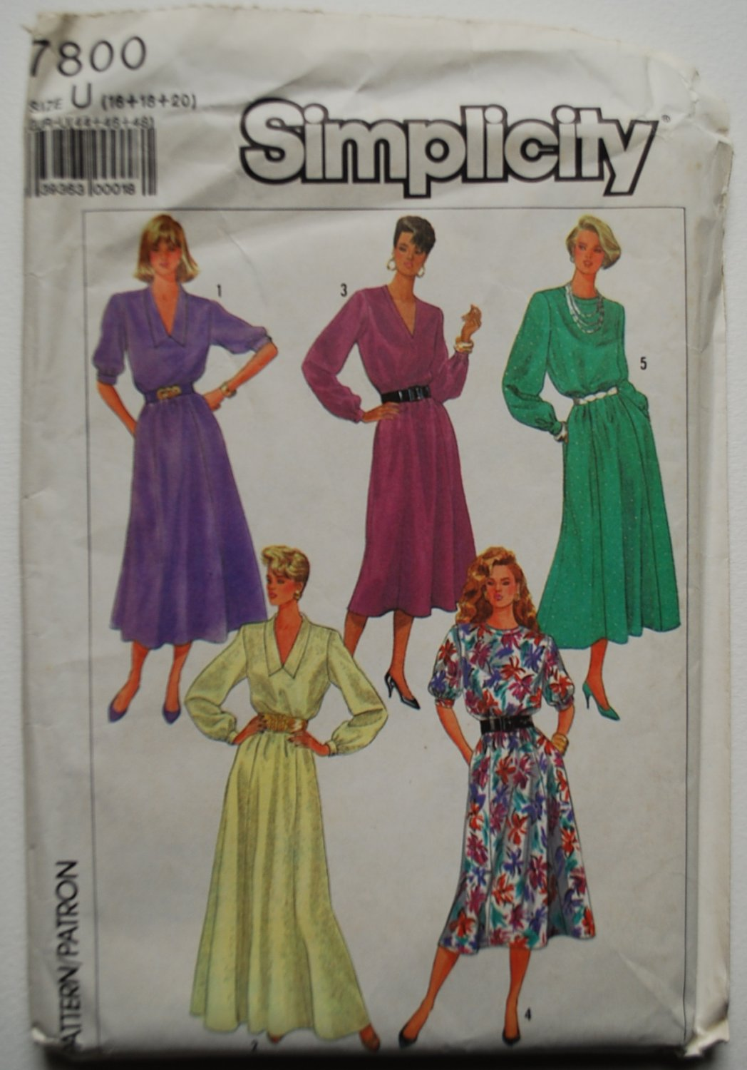 Simplicity 7800 vintage 1986 dress pattern, various styles, sizes 16-20