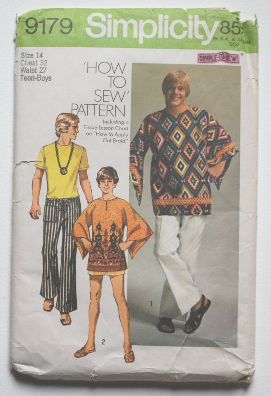 Simplicity 9179 vintage 1970 pattern for teen dashiki tunic and hip-hugger pants, chest 32 inches