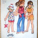 Vintage 1972 Simplicity 5053 children's Jiffy pattern bellbottom pants, halter tops, shorts