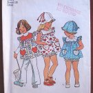 Simplicity 6366 vintage 1973 child's pattern for pinafore type top, hat, and bloomers