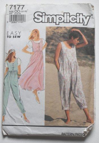 Simplicity 7177 vintage 1991 pattern for romper jumpers size 12-18