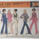 McCall's 9689 vintage 1969 pattern for 60s blouse, bellbottom pants, and short & long vests
