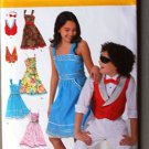 Simplicity 2577 pattern for girls' dresses and boys vest and bowtie, sizes 8-16