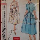 Simplicity 2461 vintage 1958 dress pattern with interesting front button closure, bust 36 inches
