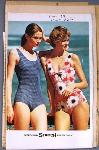 Simplicity 6403 vintage 1974 swimsuit pattern, one style with keyhole detail, bust 34 inches