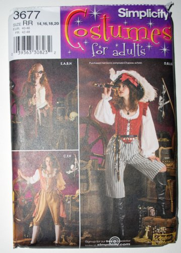 Simplicity 3677 pattern for woman pirate piratess costumes size 14-20