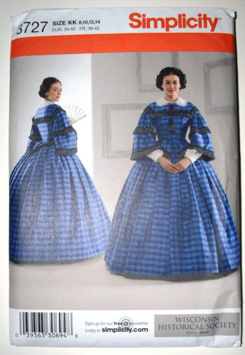 Simplicity 3727 costume Wisconsin Historical Society Civil War dress, sizes 6-14, 2007