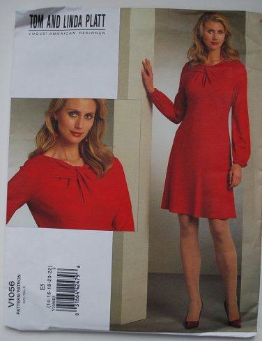 Vogue 1056 or v1056 pattern by Tom and Linda Platt for twist neck dress, size 14-16-18-20-22
