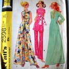 McCall's 2598 vintage 1970 hostess dress top and pants pattern size 10