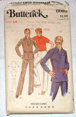 Groovy 1970s vintage Butterick 6095 pattern for men's shirt pants.