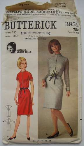 1960s Butterick 3851 Norma Tullo Slim Dress Pattern Australian Designer dress